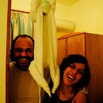 Me & My Husband with the Origami Monkey Towel