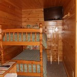 View of Cabin 1 bunk beds & TV