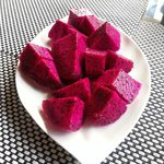 Dragonfruit specially prepared by staff for breakfast. Yum!
