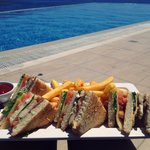 Club sandwich from pool bar
