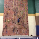 The rock wall in the rec center.