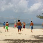 pick-up game of beach volleyball