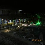 nightime view of pool from balcony