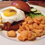The house burger with cheese curds!