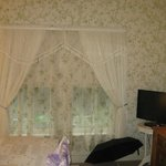 Room with wallpaper and sheer curtains matching
