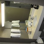 Amenities include soap, shampoo and moisturizer.  The bathroom also has a coffee maker