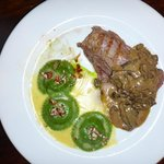 Filet of beef with wild mushrooms + ravioli