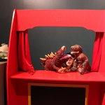 hand puppet theater, dinosaur exhibit, South Carolina State Museum, July 2014