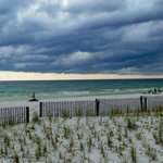 Beach view from Room 148 patio. Rain clouds--but it never rained.