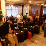 The lobby crowded with our suitcases as we prepared to go back home