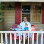 Some of our family on the front porch of the cabin.