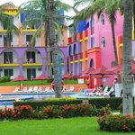 Colorful buildings on the resort.