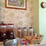 lovely breakfast bar!there is a freh fruits basket as well which is not shown in this picture
