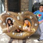 Kids outside pretzel factory