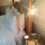 Bed and bedside lamps
