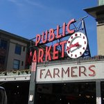 Iconic sign and clock at Pike Place Market