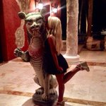 My daughter kissing the hotel warrior, somehow he doesn't look so mean;)