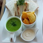 Pea soup and cheese sandwich - amazing
