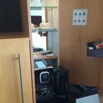 Coffee machine and kettle in the room