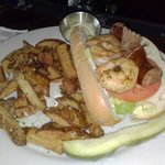 Grilled shrimp Po Boy with duck fat fries