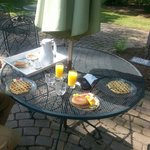 Delicious breakfast on the patio