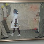 Famous painting of Federal marshalls walking a young African American girl to school following t