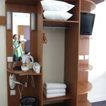 shelving unit with tea/coffee and TV