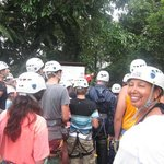 Zip Lining - PACKED!! Lots of people but worth it. 8 Lines/wires to zip down in CR