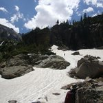Snow field almost to waterfall
