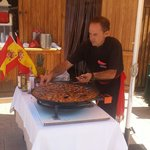 Fresh paella in the pool area