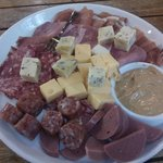 Local meet and cheese (and mustard) plate - a tasty snack.