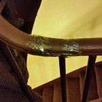 broken hand rail wrapped w/packing tape!