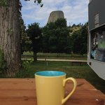 Coffee outside with a view of Devil's Tower