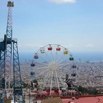 view from Mount Tibidabo overlooking Bracelona