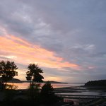 Sunset over Bar Harbor's sandbar from my balcony