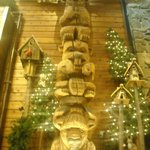 Carved Wooden tiki pole in Lobby
