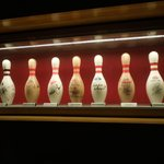 signed bowling pins by famous people