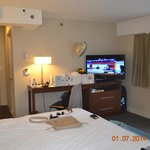 Our room with large flat screen TV