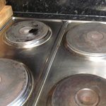 Grease and food covered stovetop