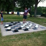 Checkers on the lawn