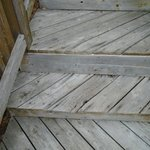 The steps to our unit...several rotted boards