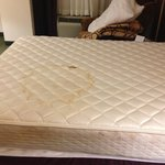 Both beds are covered in stains all the way through.