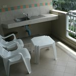 Balcony is spacious and comfortable. Towel dryer and closet out of shot