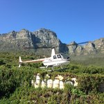 Helicopter landing at The Twelve Apostles Hotel
