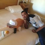 Abdullah the cleaner with our towel crocodile!!