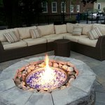 Patio lounge and fireplace