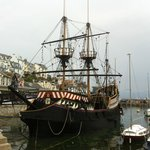 Replica of The Golden Hind ship at Brixham Harbour