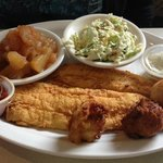Flounder Platter with baked apples and slaw