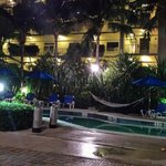 Night shot of the pool area.