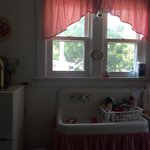 Quaintly decorated guest kitchen stocked with everything you may need- dish soap, paper towels,